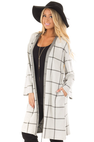 Light Grey Windowpane Plaid Cardigan with Pockets front close up