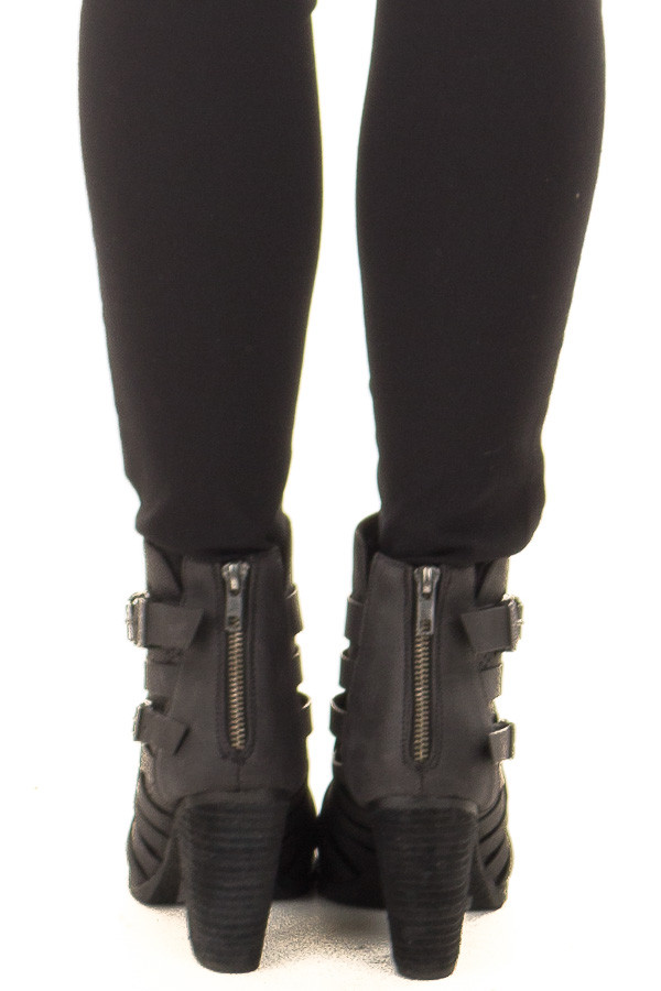 Black Strappy Heeled Bootie with Cut Out Details back view