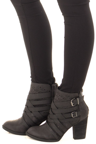 Black Strappy Heeled Bootie with Cut Out Details side view