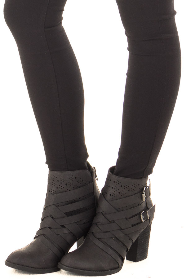 Black Strappy Heeled Bootie with Cut Out Details front side view