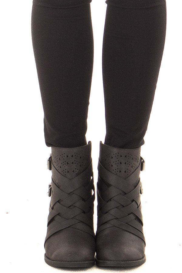Black Strappy Heeled Bootie with Cut Out Details front view