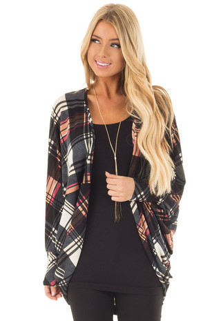 Black Multi Plaid Long Sleeve Wing Cardigan front close up