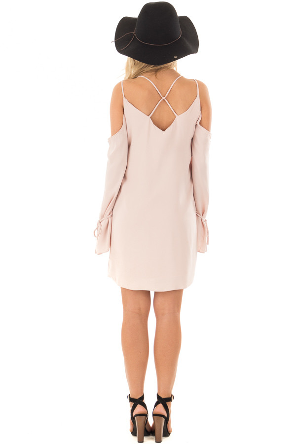 Blush Cold Shoulder Dress with Sleeve Tie Details back full body