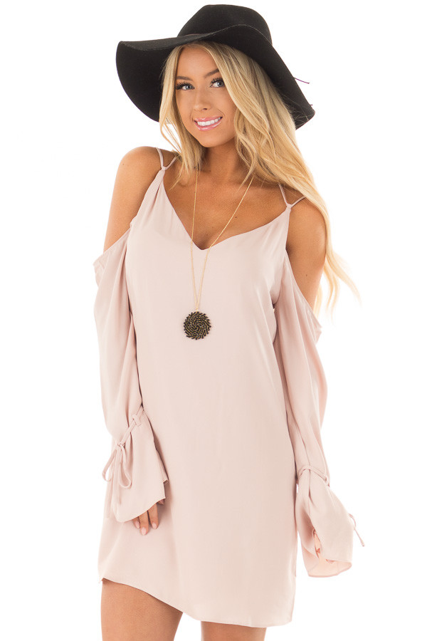 Blush Cold Shoulder Dress with Sleeve Tie Details front close up