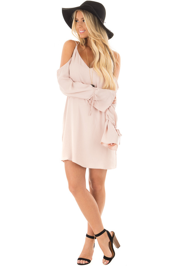Blush Cold Shoulder Dress with Sleeve Tie Details front full body