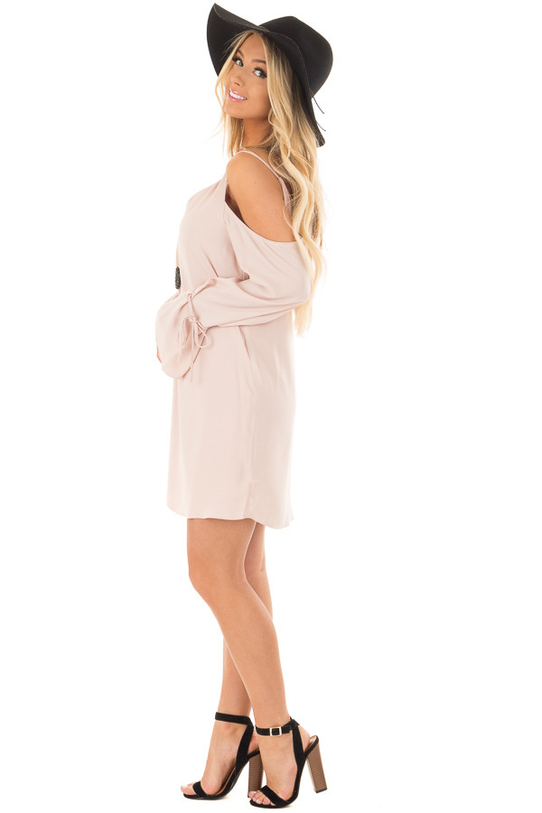 Blush Cold Shoulder Dress with Sleeve Tie Details side full body