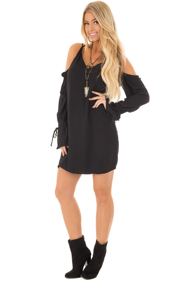 Black Cold Shoulder Dress with Sleeve Tie Details front full body