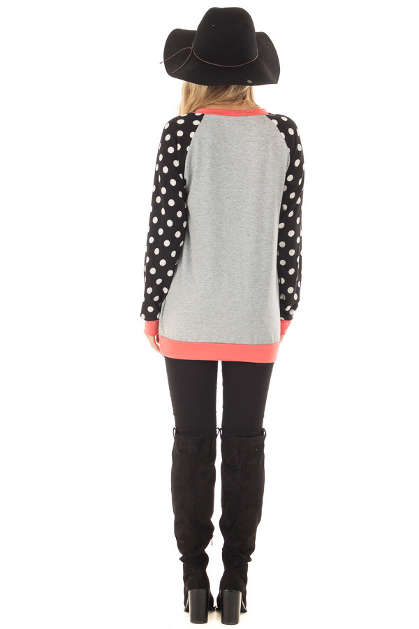 Heather Grey Top with Black and Ivory Polka Dot Contrast back full body