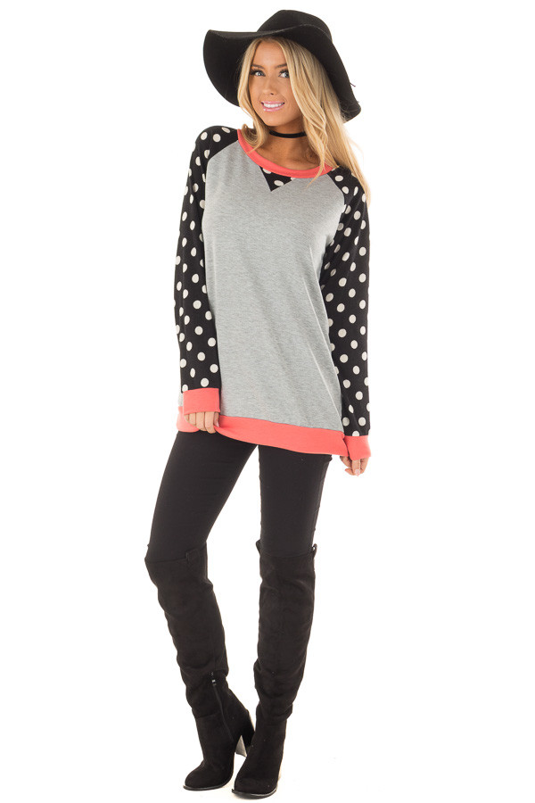 Heather Grey Top with Black and Ivory Polka Dot Contrast front full body
