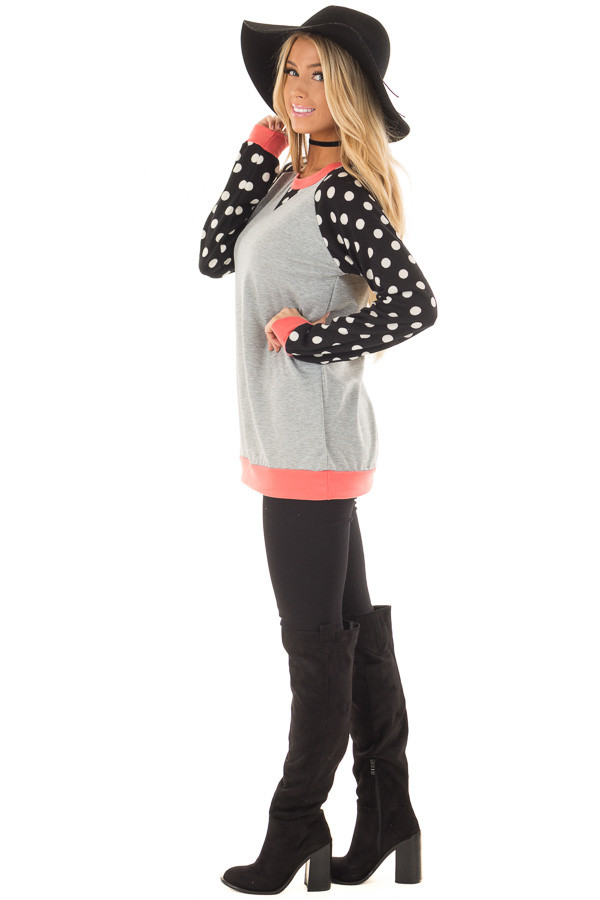Heather Grey Top with Black and Ivory Polka Dot Contrast side full body
