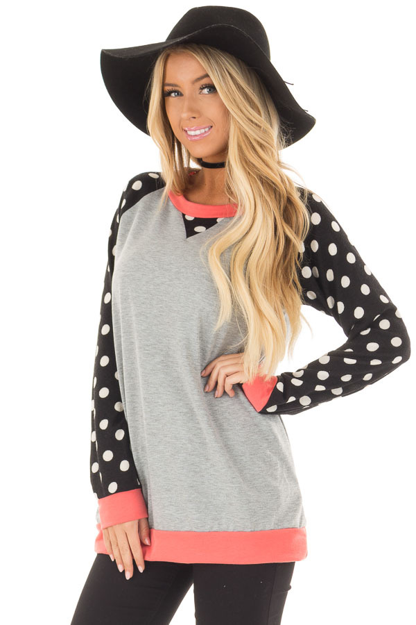 Heather Grey Top with Black and Ivory Polka Dot Contrast front close up