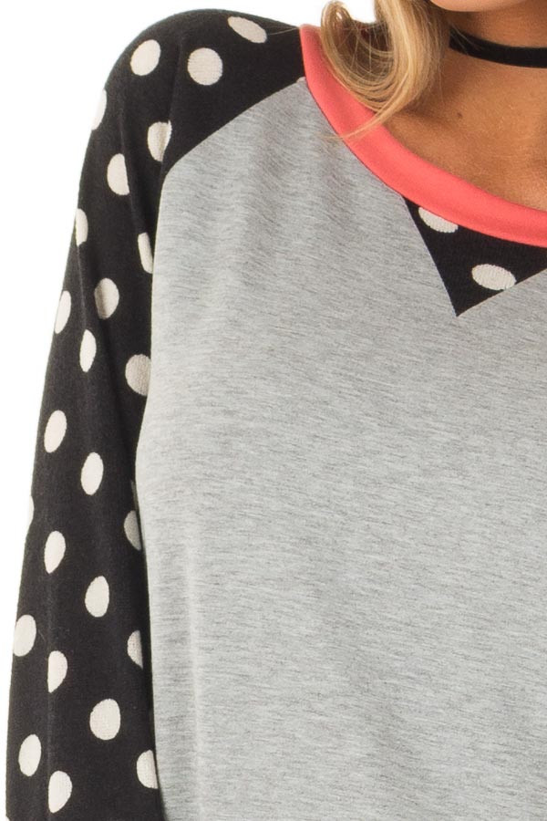 Heather Grey Top with Black and Ivory Polka Dot Contrast detail