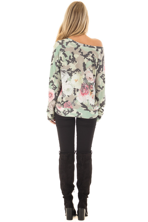 Camo Floral Print Boat Neck Sweater back full body