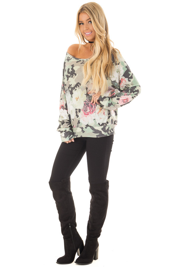 Camo Floral Print Boat Neck Sweater front full body