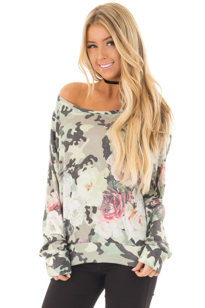 Camo Floral Print Boat Neck Sweater front close up
