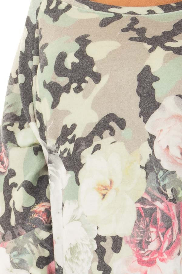 Camo Floral Print Boat Neck Sweater detail