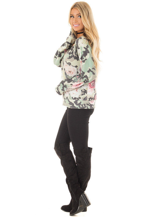 Camo Floral Print Boat Neck Sweater side full body
