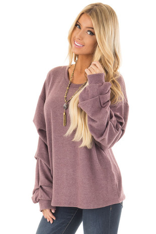 Plum Sweater with Long Bishop Sleeves front close up
