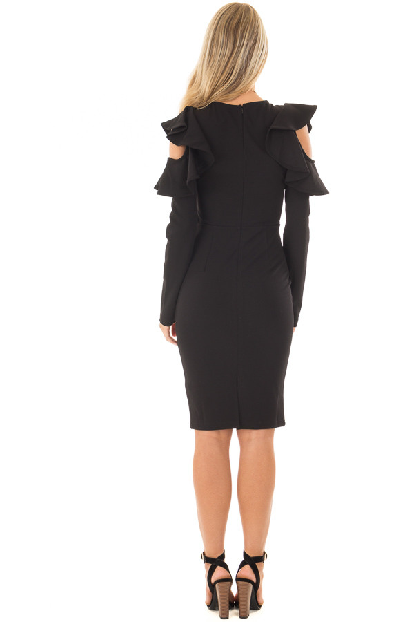Black Cold Shoulder Dress with Ruffle Detail back full body