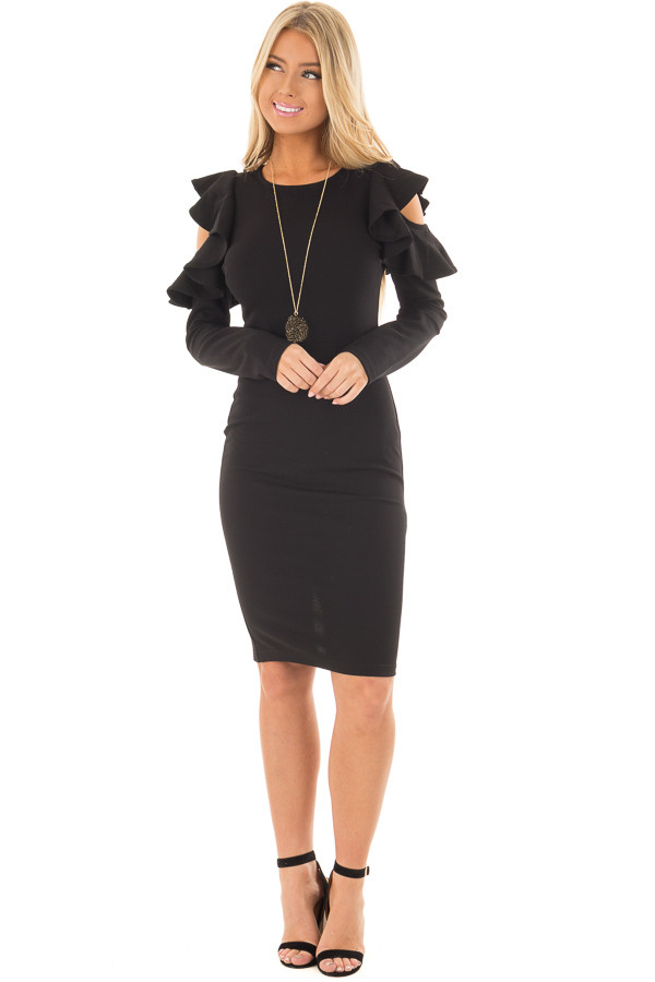 Black Cold Shoulder Dress with Ruffle Detail front full body