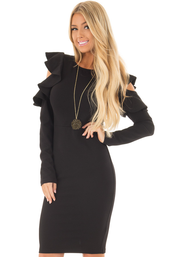 Black Cold Shoulder Dress with Ruffle Detail front close up