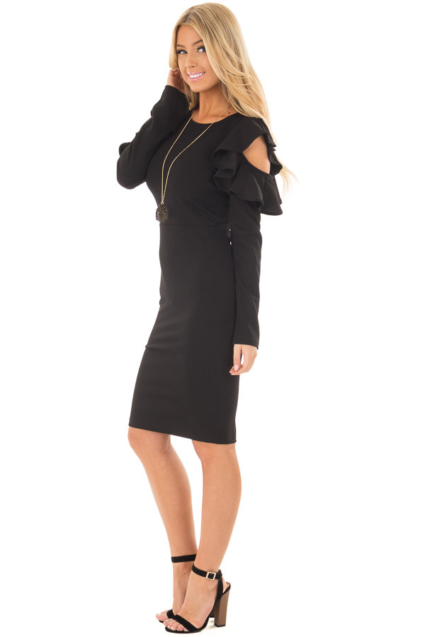 Black Cold Shoulder Dress with Ruffle Detail side full body