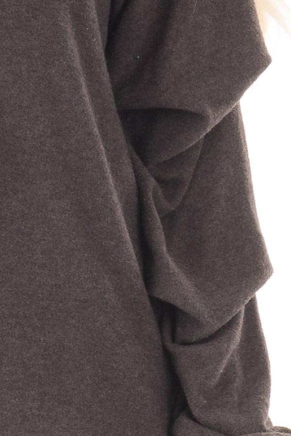 Charcoal Sweater with Long Bishop Sleeves detail