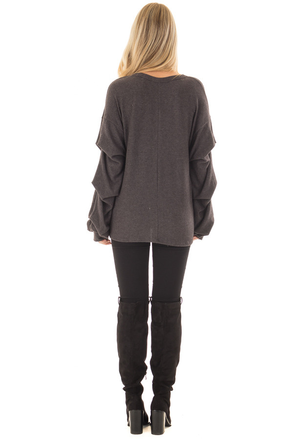 Charcoal Sweater with Long Bishop Sleeves back full body