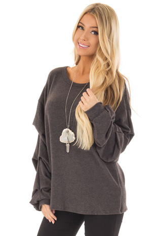 Charcoal Sweater with Long Bishop Sleeves front close up