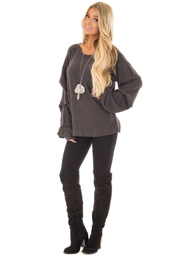 Charcoal Sweater with Long Bishop Sleeves front full body