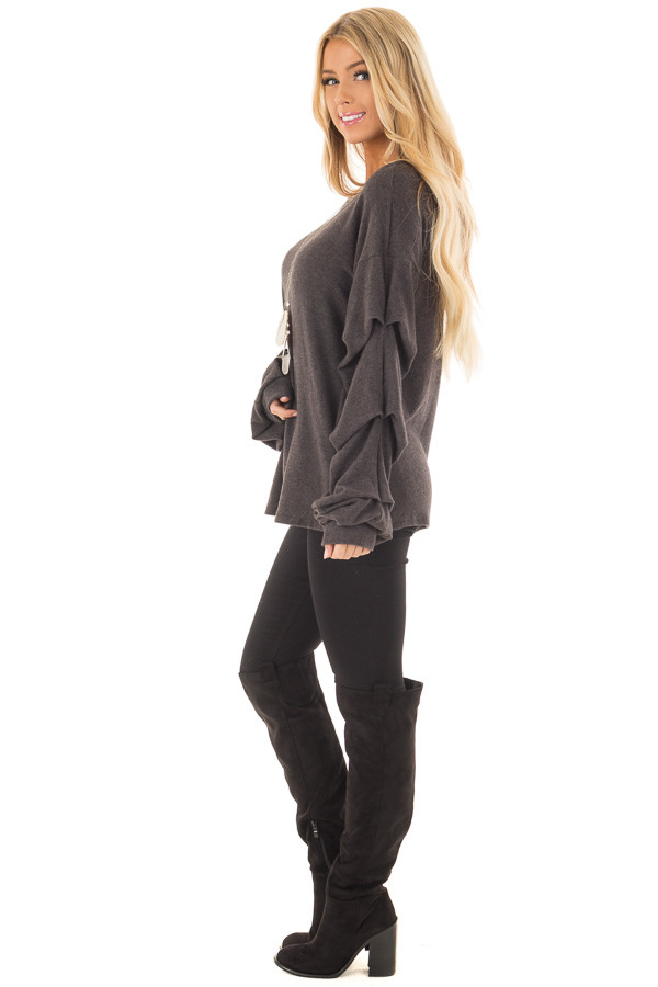 Charcoal Sweater with Long Bishop Sleeves side full body
