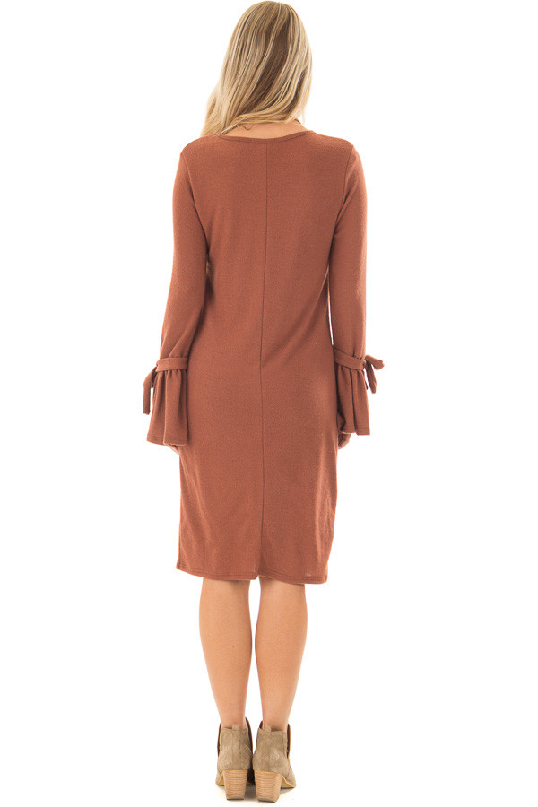 Dark Rust Soft Dress with Sleeve Ties back full body