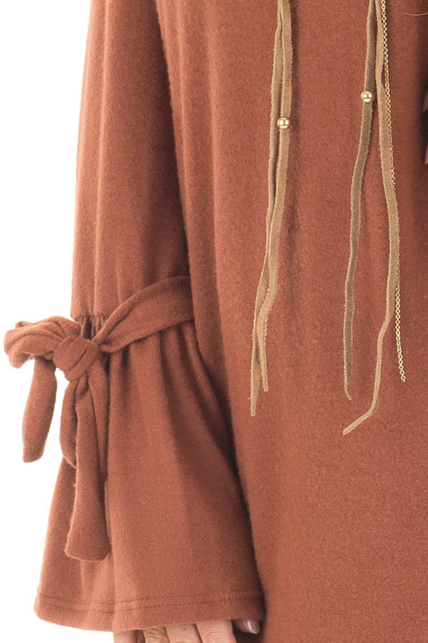 Dark Rust Soft Dress with Sleeve Ties detail