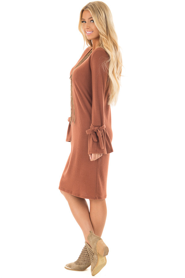 Dark Rust Soft Dress with Sleeve Ties side full body