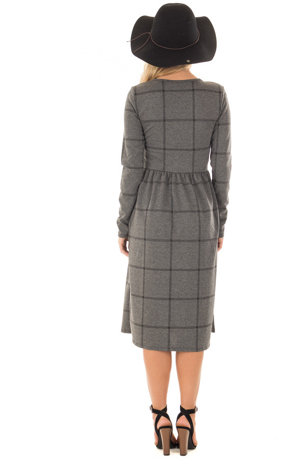 Charcoal Plaid High Waist Flare Midi Dress with Pockets back full body