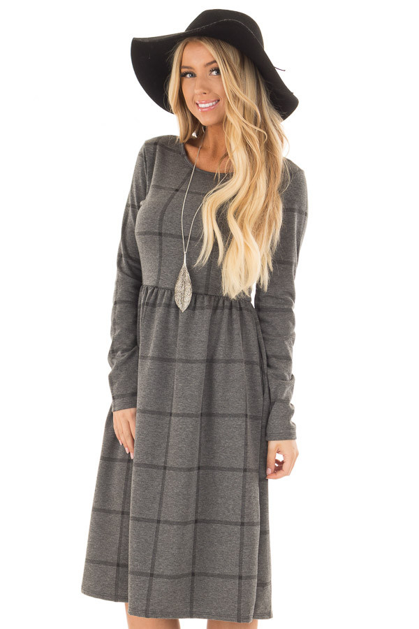 Charcoal Plaid High Waist Flare Midi Dress with Pockets front close up