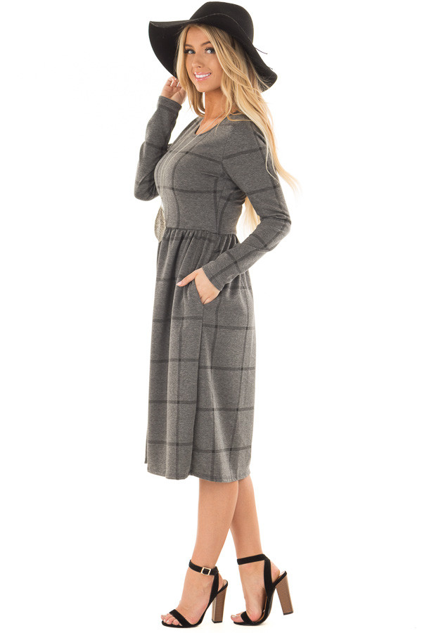 Charcoal Plaid High Waist Flare Midi Dress with Pockets side full body
