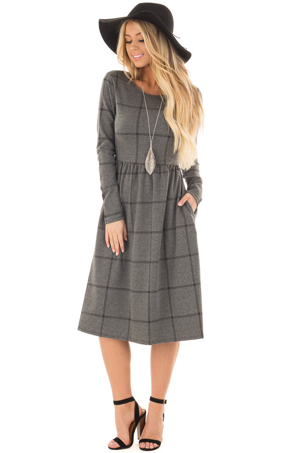 Charcoal Plaid High Waist Flare Midi Dress with Pockets front full body