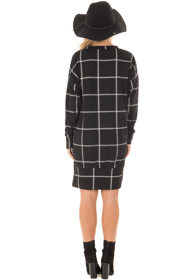 Black Window Pane Plaid Dress with Side Slits back full body