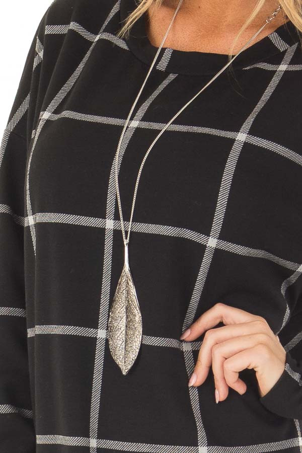 Black Window Pane Plaid Dress with Side Slits detail