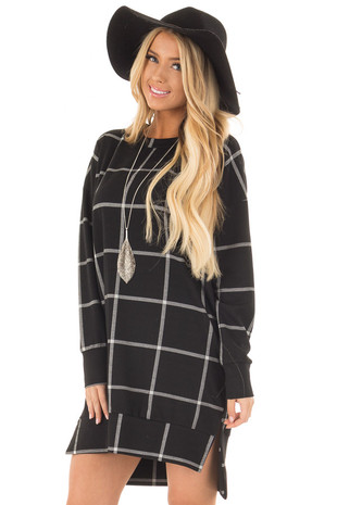 Black Window Pane Plaid Dress with Side Slits front close up