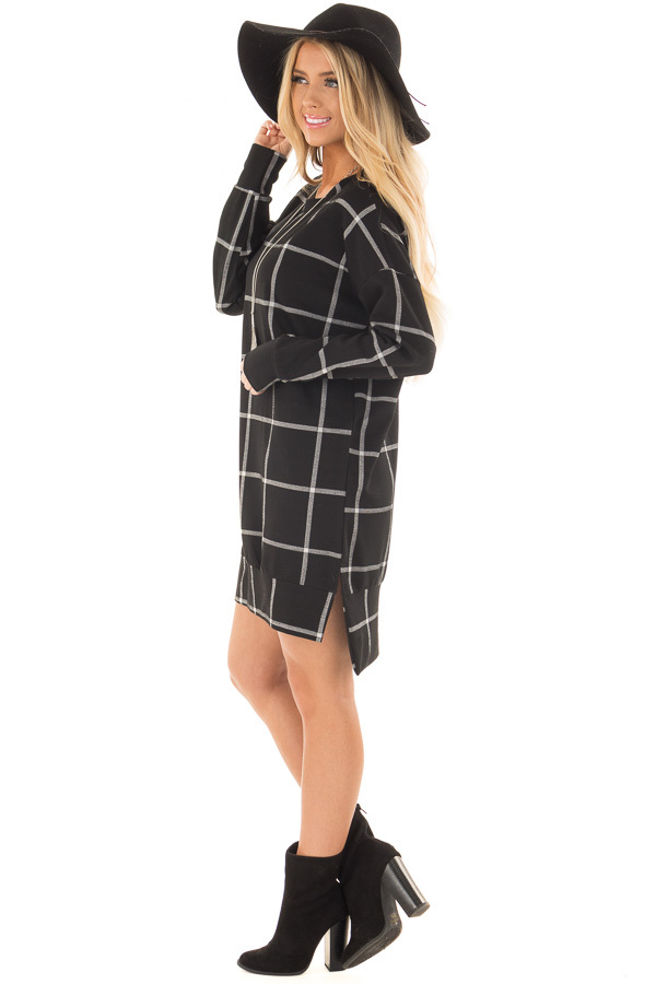 Black Window Pane Plaid Dress with Side Slits side full body
