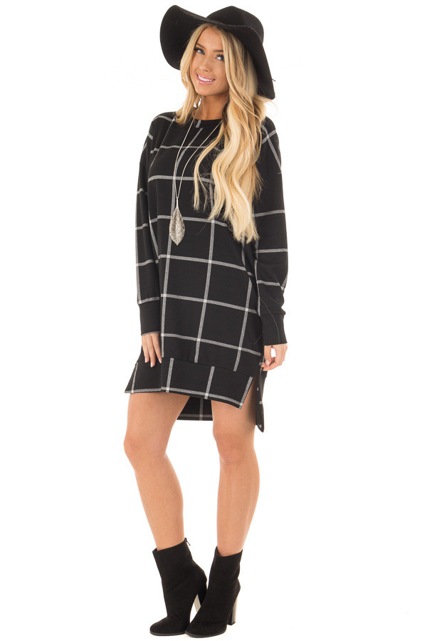 Black Window Pane Plaid Dress with Side Slits front full body