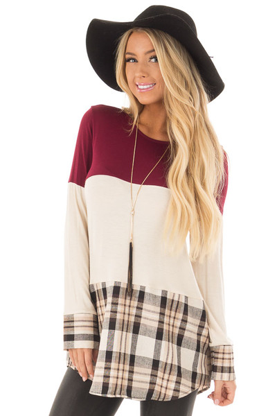 Burgundy Color Block Top with Plaid Contrast front close up