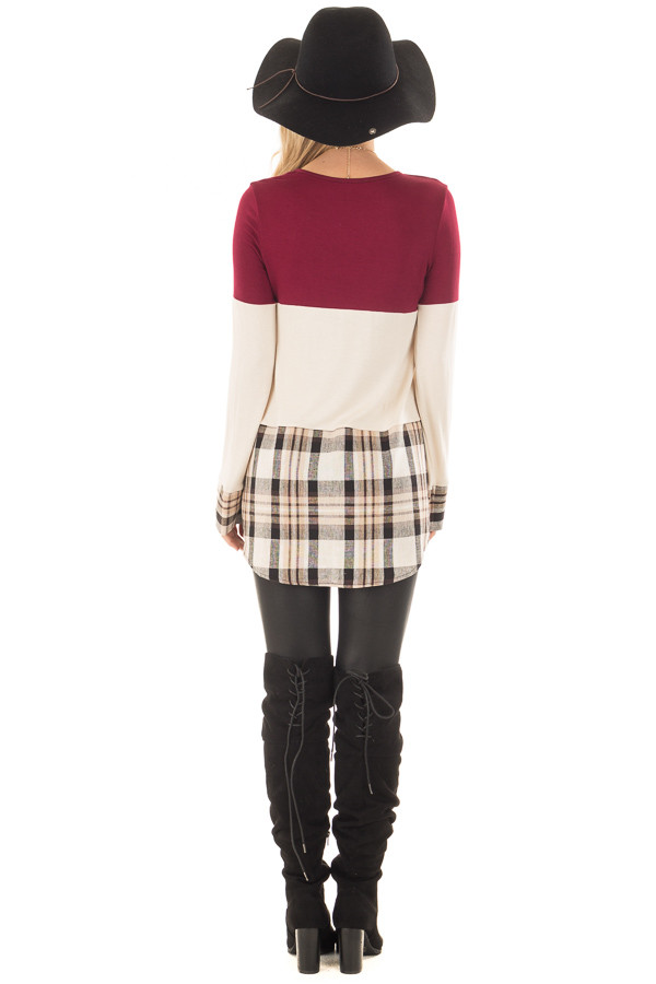 Burgundy Color Block Top with Plaid Contrast back full body