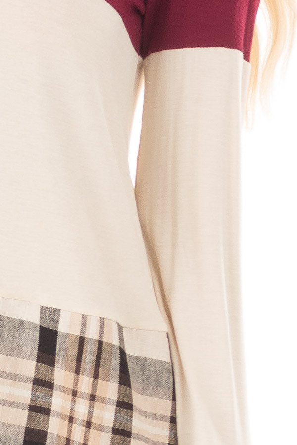 Burgundy Color Block Top with Plaid Contrast detail