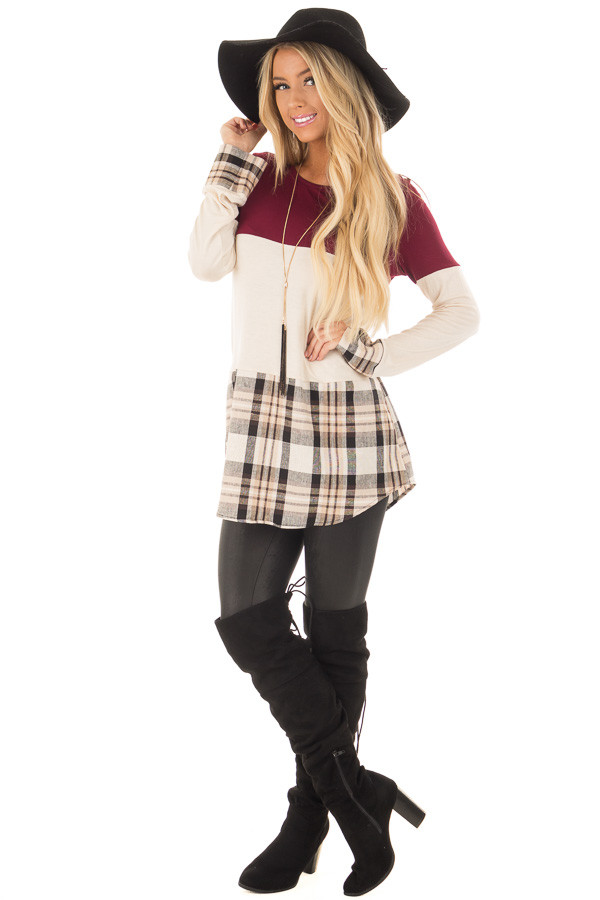 Burgundy Color Block Top with Plaid Contrast front full body