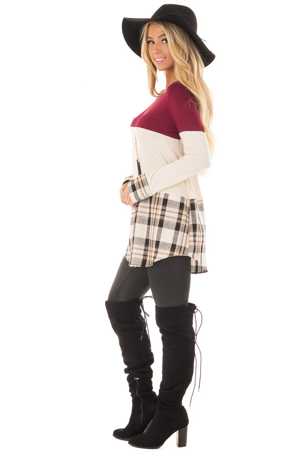 Burgundy Color Block Top with Plaid Contrast side full body