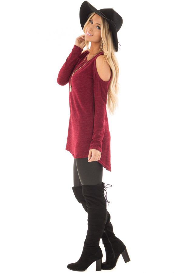 Burgundy Cold Shoulder Tunic Sweater with Rounded Hemline side full body
