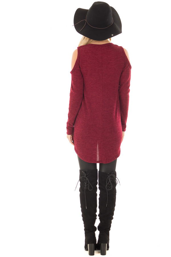 Burgundy Cold Shoulder Tunic Sweater with Rounded Hemline back full body